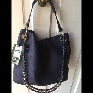 Emperia vegan Navy blue purse with makeup bag NEW